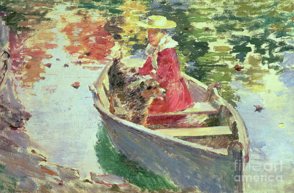 Painting - Miss Motes And Her Dog Shep, 1893 by Theodore Robinson