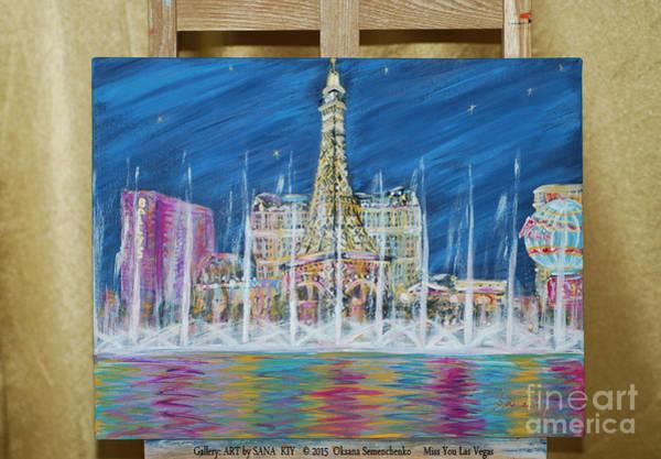 Painting - Miss You Las Vegas . Original Acrylic Painting For Sale by Oksana Semenchenko