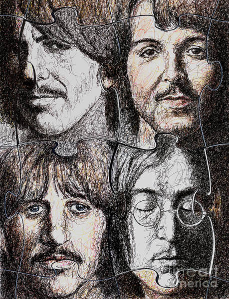 Rock Music Drawing - Missing Pieces by Maria Arango