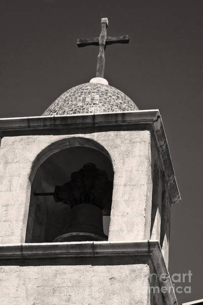 Wall Art - Photograph - Mission Bell Tower In Black And White by Tim Hightower