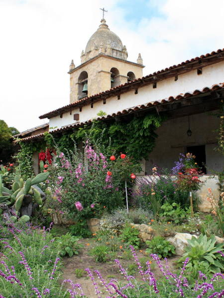 Carmel Mission Photograph - Mission Bells And Garden by Carol Groenen