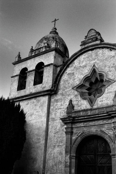 Photograph - Mission Carmel Bell Tower In Black And White by Renee Hong