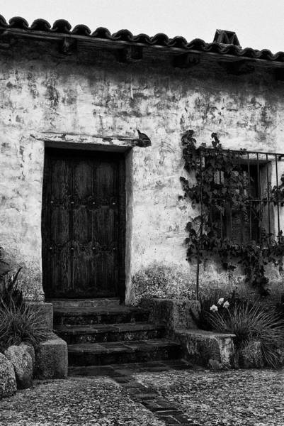 Photograph - Mission Carmel Door In Black And White by Renee Hong