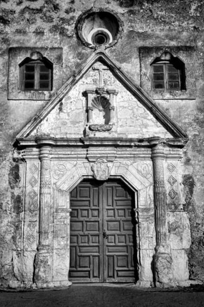 Wall Art - Photograph - Mission Concepcion Entrance - Bw by Stephen Stookey