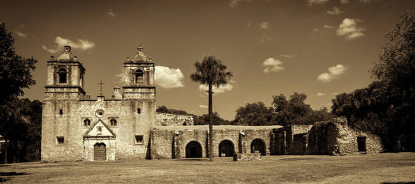 Wall Art - Photograph - Mission Concepcion Panoramic - Sepia by Stephen Stookey
