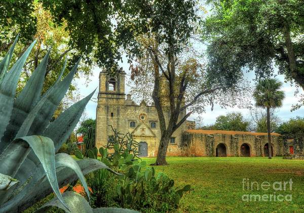 Wall Art - Photograph - Mission Concepcion With Agave Americana by Michael Tidwell