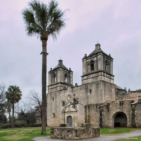La Purisima Mission Photograph - Mission Concepcion With Well And Tree by Jurgen Lorenzen