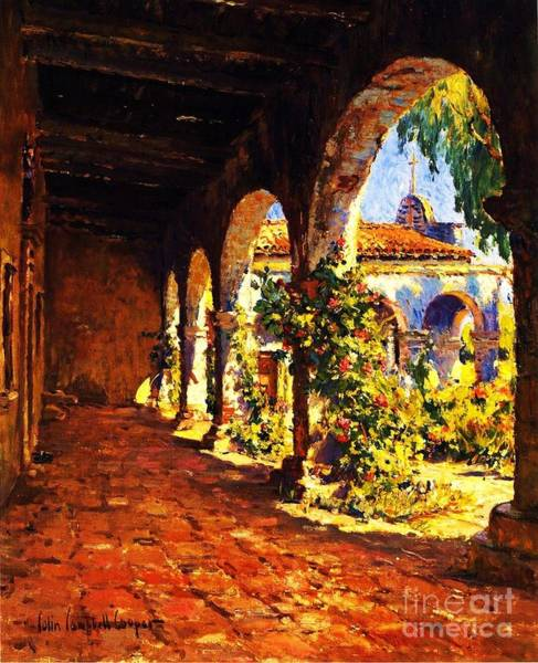 Spanish Missions Wall Art - Painting - Mission Corridor San Juan Capistrano by Pg Reproductions