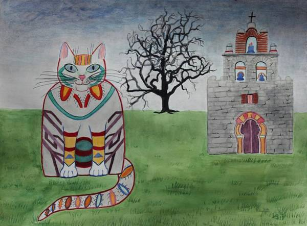 Painting - Mission Espada Cat by Vera Smith