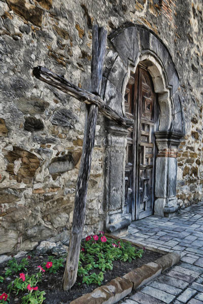 Spanish Missions Wall Art - Photograph - Mission Espada Cross And Door by Stephen Stookey