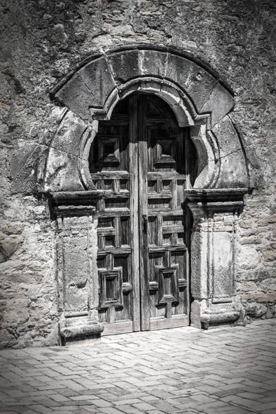 Photograph - Mission Espada Door Bw by Joan Carroll