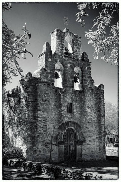 Spanish Missions Wall Art - Photograph - Mission Espada Door - Bw by Stephen Stookey