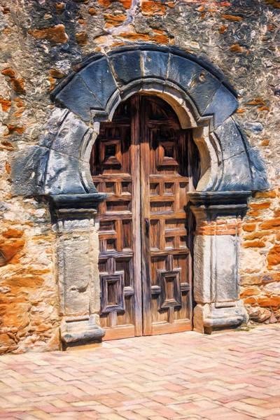 Missionary Photograph - Mission Espada Door by Joan Carroll