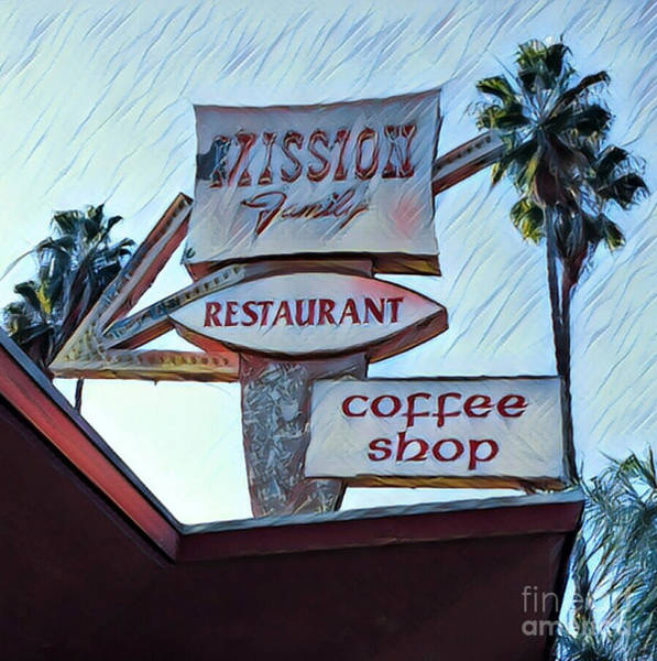 Photograph - Mission Family Restaurant Vintage Sign by Gregory Dyer