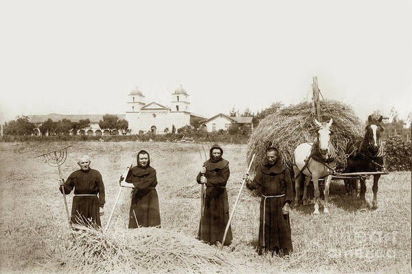 Photograph - Mission Fathers Raking Hay In A Field In Front Of Santa Barbra by California Views Archives Mr Pat Hathaway Archives