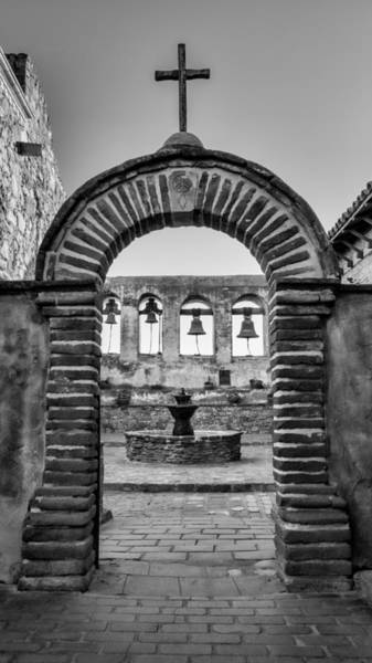 California Mission Photograph - Mission Gate And Bells #3 by Stephen Stookey