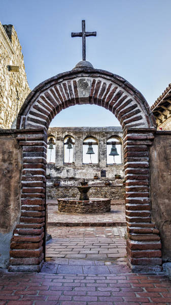 Spanish Missions Wall Art - Photograph - Mission Gate And Bells by Stephen Stookey