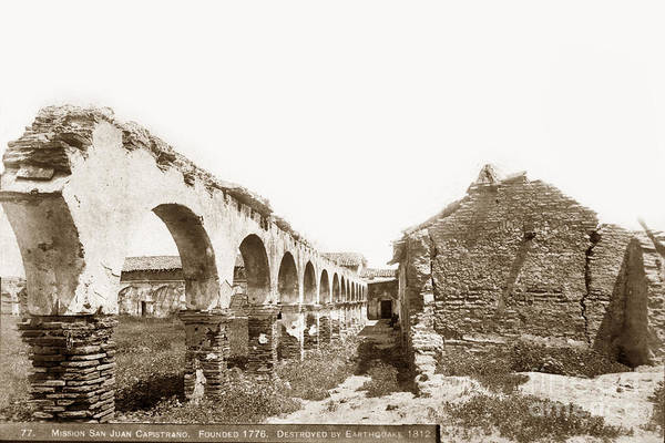 Photograph - Mission San Juan Capistrano. Destroyed By Earthquake In 1812 Fou by California Views Archives Mr Pat Hathaway Archives