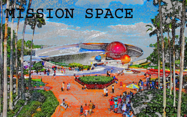 Epcot Center Wall Art - Painting - Mission Space Landscape by David Lee Thompson