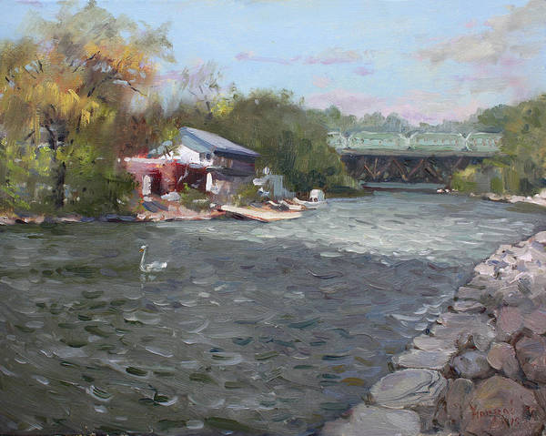 Trains Painting - Mississauga Canoe Club by Ylli Haruni