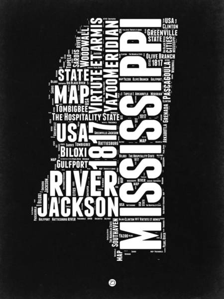 Wall Art - Digital Art - Mississippi Black And White Map by Naxart Studio