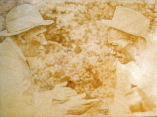 Pyrography Wall Art - Pyrography - Mississippi John Hurt And Son House by Lorraine Zaloom