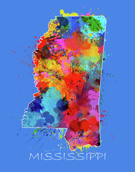 Us Civil War Digital Art - Mississippi Map Color Splatter 3 by Bekim M
