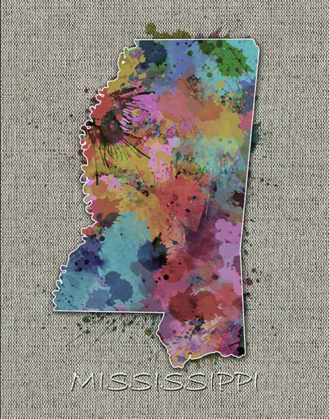Us Civil War Digital Art - Mississippi Map Color Splatter 5 by Bekim M