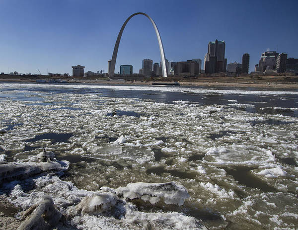 St Louis Arch Painting - Mississippi Rive In The Winter With Ice  by Garry McMichael