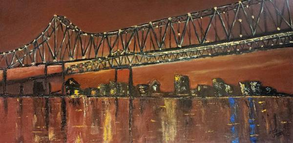 Wall Art - Painting - Mississippi River Bridge Over New Orleans by Judy Jones