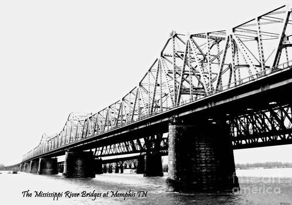 Photograph - Mississippi River Bridges At Memphis Tn by Lizi Beard-Ward