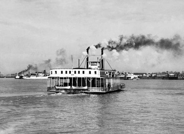 Steam Boat Photograph - Mississippi River Ferry Boat by Underwood Archives