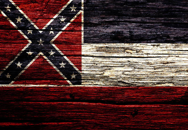 Delta Mixed Media - Mississippi State Flag 2w by Brian Reaves