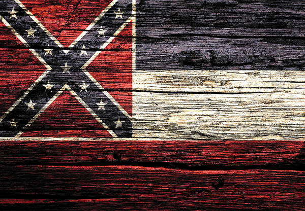 Delta Mixed Media - Mississippi State Flag 3w by Brian Reaves