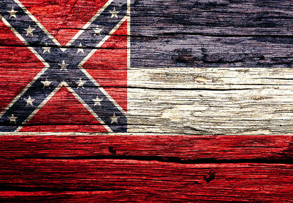 Mi Mixed Media - Mississippi State Flag 4w by Brian Reaves