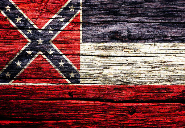 Delta Mixed Media - Mississippi State Flag 5w by Brian Reaves