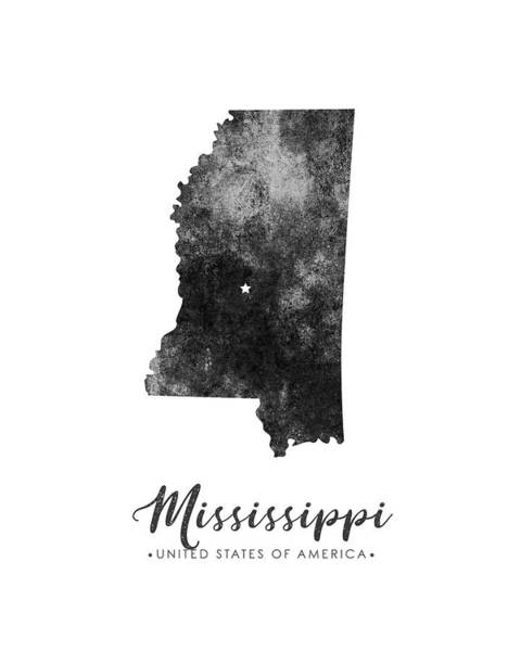 Map Of United States Mixed Media - Mississippi State Map Art - Grunge Silhouette by Studio Grafiikka