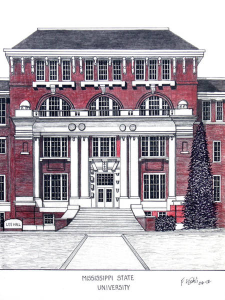 Wall Art - Drawing - Mississippi State University by Frederic Kohli