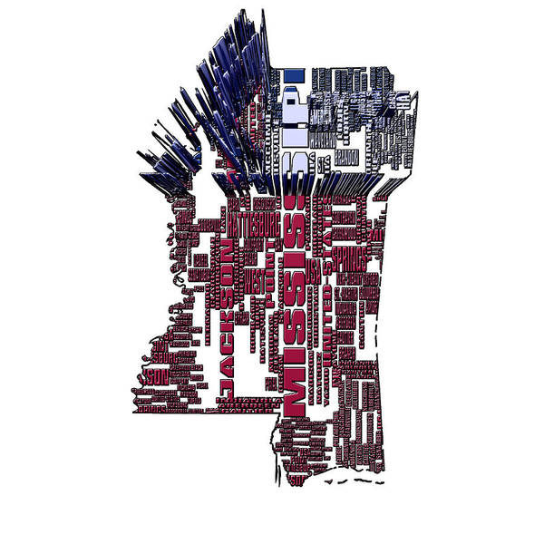 Delta Mixed Media - Mississippi Typographic Map 4b by Brian Reaves