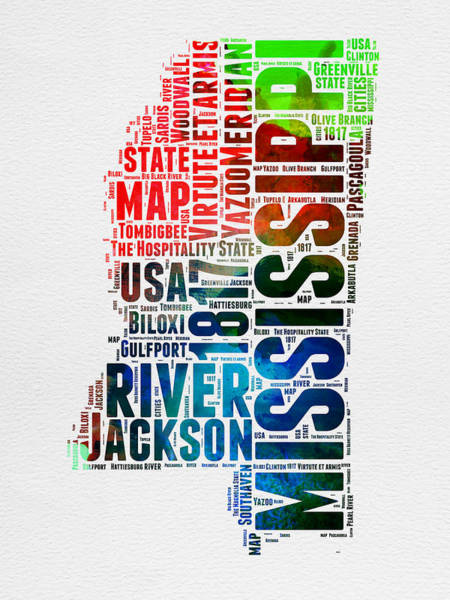 Map Mixed Media - Mississippi Watercolor Word Cloud  by Naxart Studio