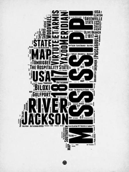 Map Mixed Media - Mississippi Word Cloud 2 by Naxart Studio