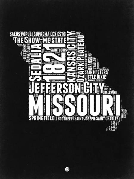 Wall Art - Digital Art - Missouri Black And White Word Cloud Map by Naxart Studio