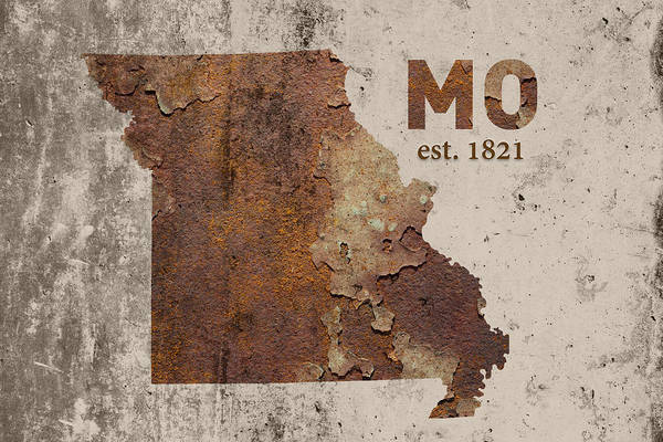 St Mixed Media - Missouri State Map Industrial Rusted Metal On Cement Wall With Founding Date Series 033 by Design Turnpike
