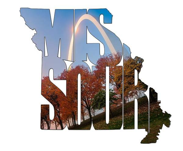 Photograph - Missouri Typography Artwork - Foggy Autumn Morning In St. Louis by Gregory Ballos