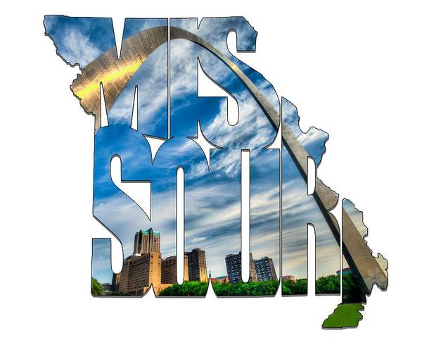 Photograph - Missouri Typography Artwork - The Saint Louis Arch And City Skyline by Gregory Ballos