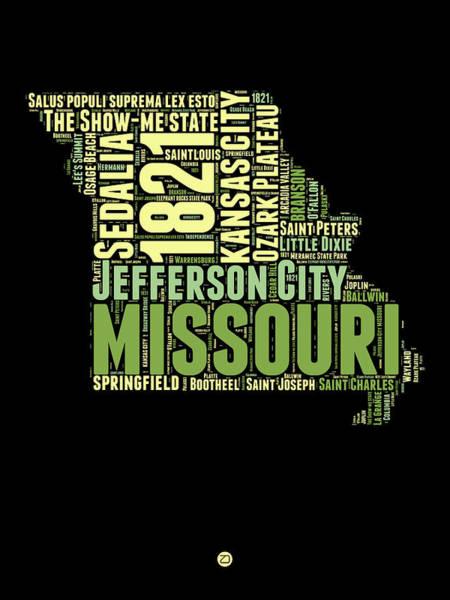 Kansas Digital Art - Missouri Word Cloud Map 1 by Naxart Studio