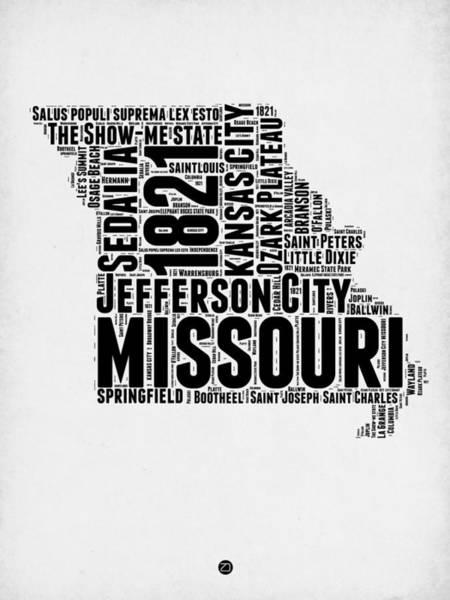 Kansas Digital Art - Missouri Word Cloud Map 2 by Naxart Studio