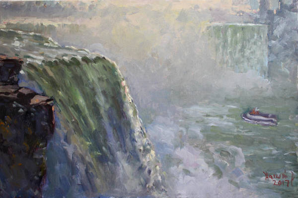 Wall Art - Painting - Mist At Horseshoe Falls  by Ylli Haruni