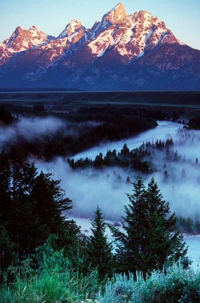 Wall Art - Photograph - Mist Over Snake River, Sunrise Light by Panoramic Images