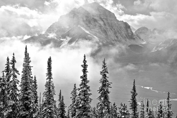 Photograph - Mist Over The Rocky Mountains Black And White by Adam Jewell